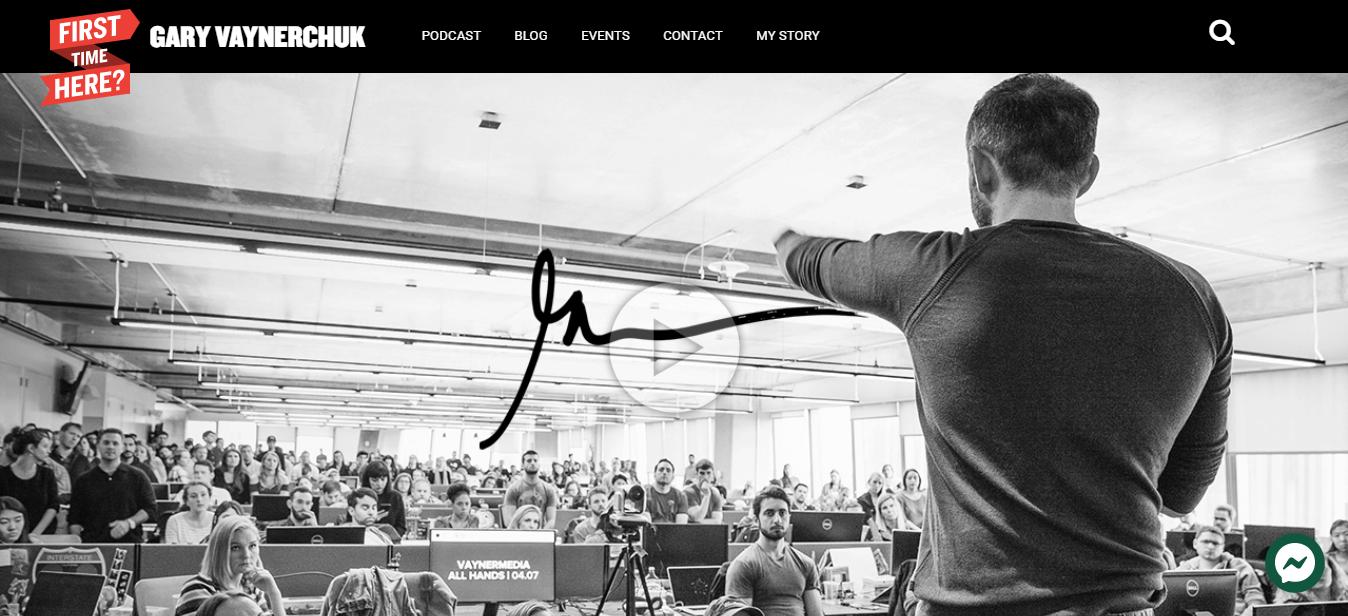Sito web profilo personale online di Gary Vaynerchuk