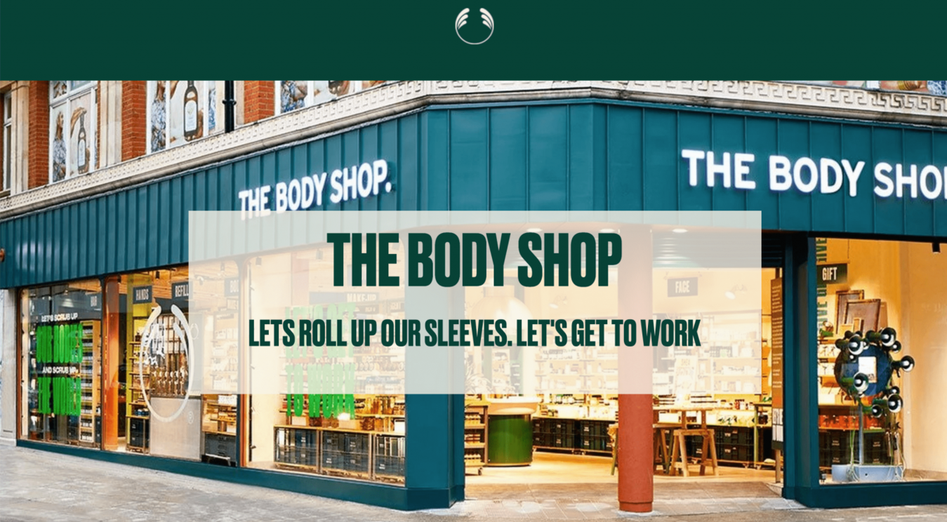 The Body Shop landing page