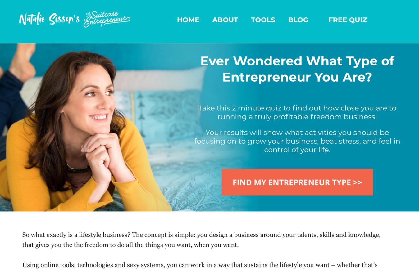Voorbeeld van een infopreneur website (Suitcase Entrepreneur)