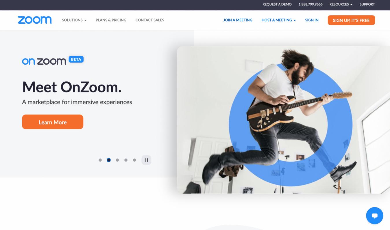 Zoom startpagina