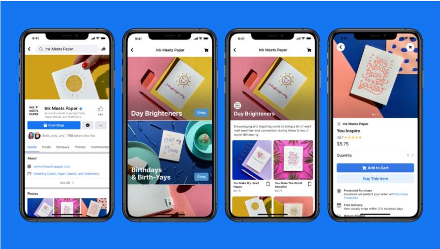 4 schermi che mostrano le caratteristiche dei negozi Facebook