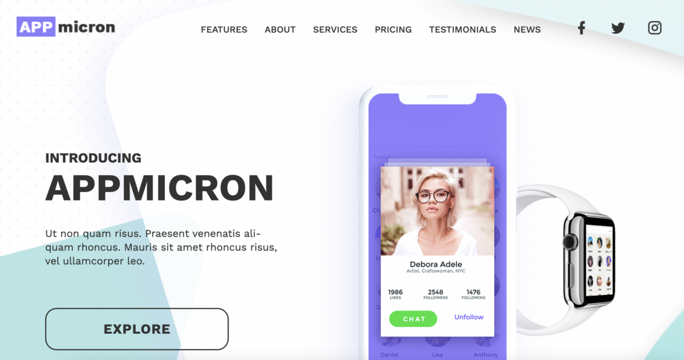 Appmicron landing page