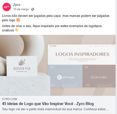 Exemplo de postagem na página do Zyro no Facebook