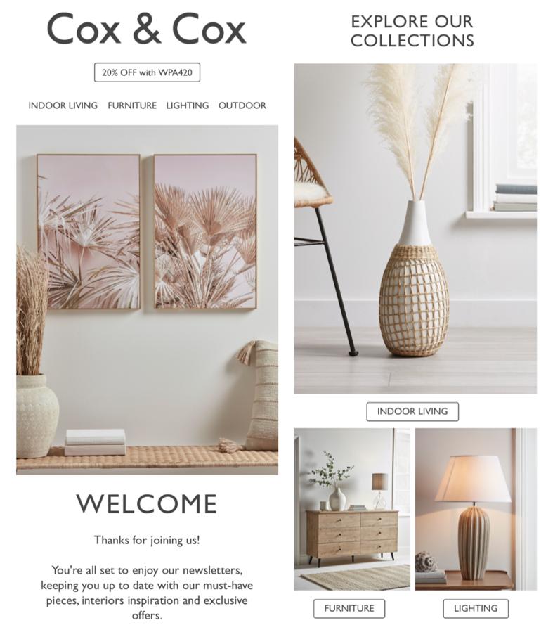 Email newsletter di Cox e Cox
