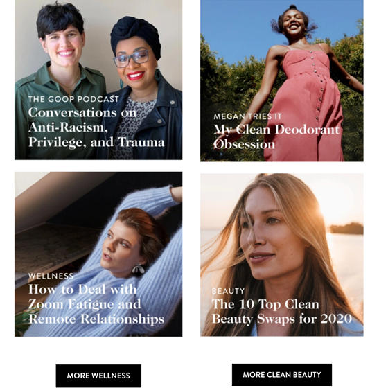 Email newsletter di Goop