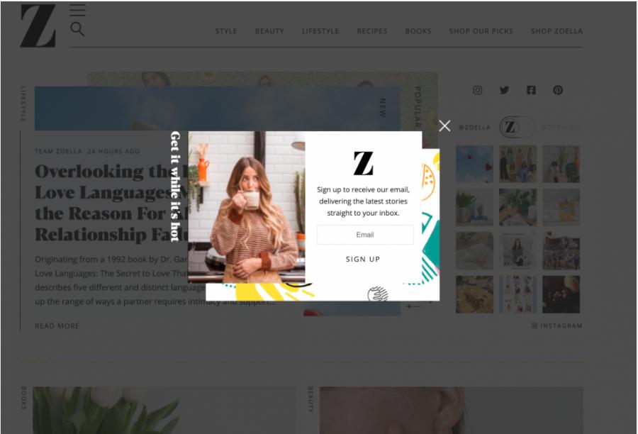 Esempio di popup della newsletter di Zoella