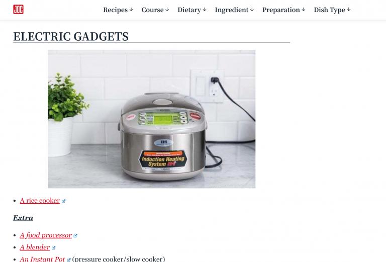 Exemplo de marketing de afiliados no site de culinária Just One Cookbook