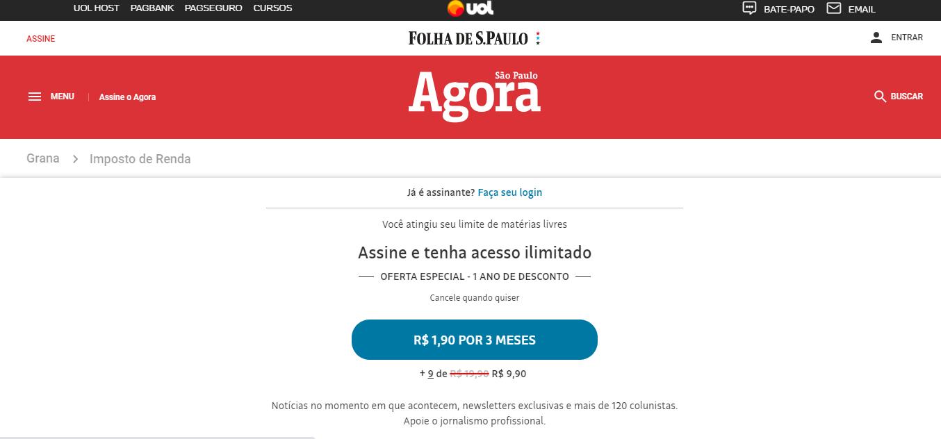 Exemplo de um site de notícias que usa paywall para monetização.