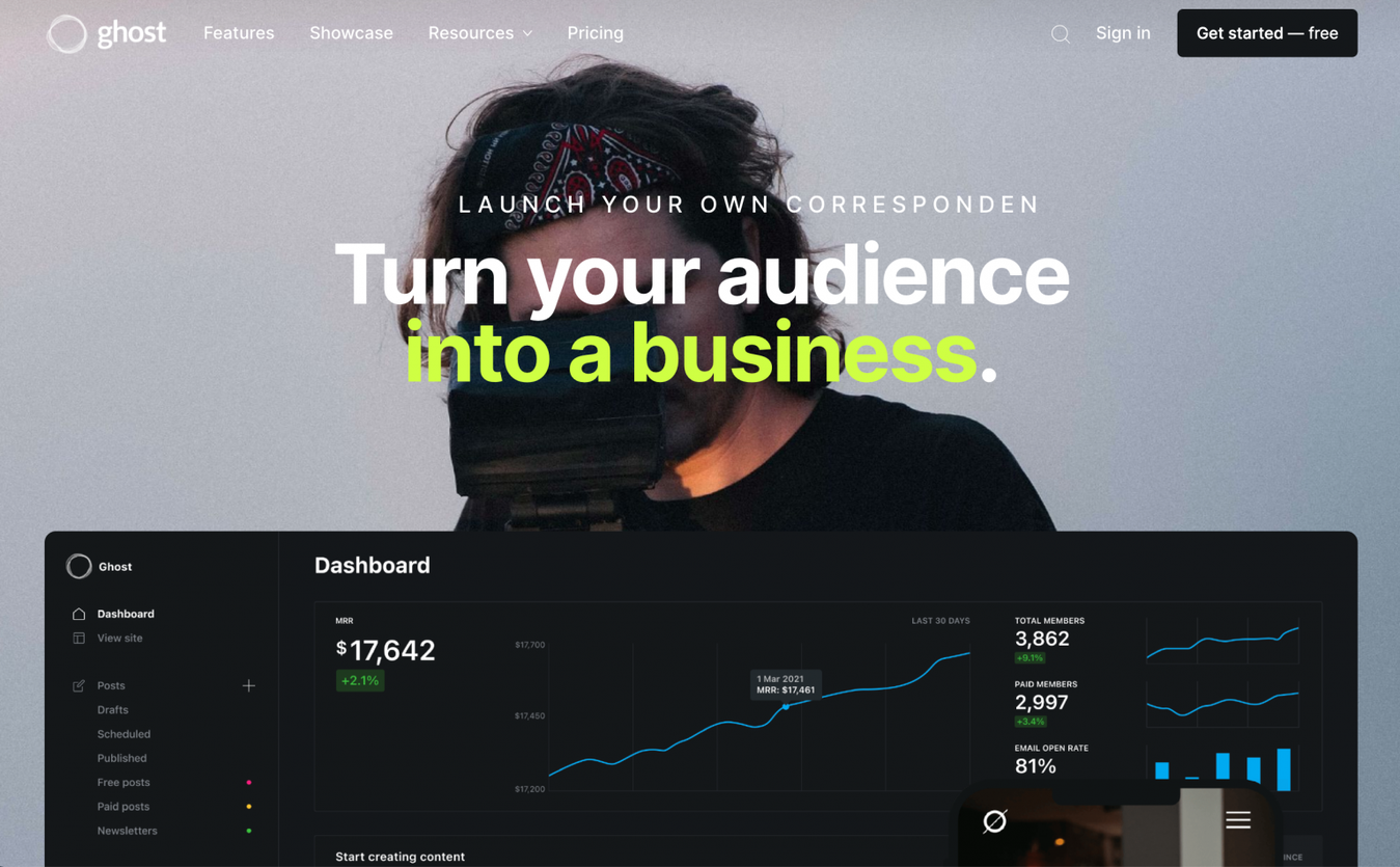 Ghost landing page
