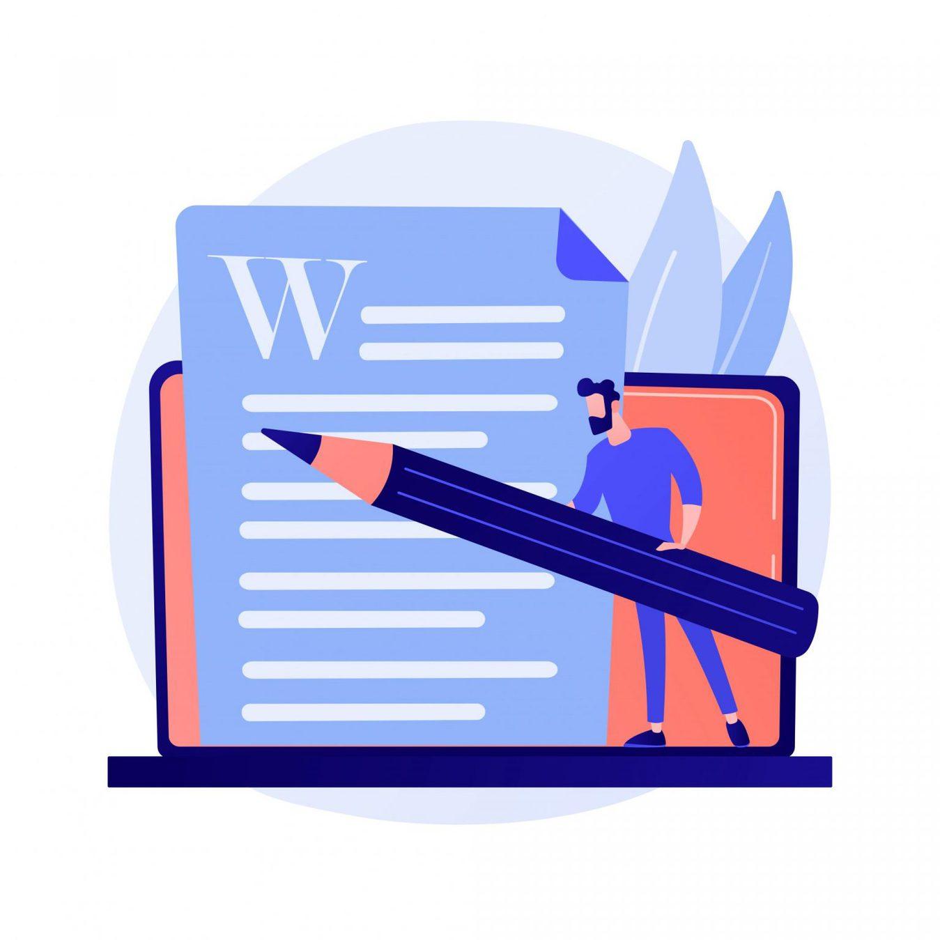Een illustratie van content schrijven op een laptop