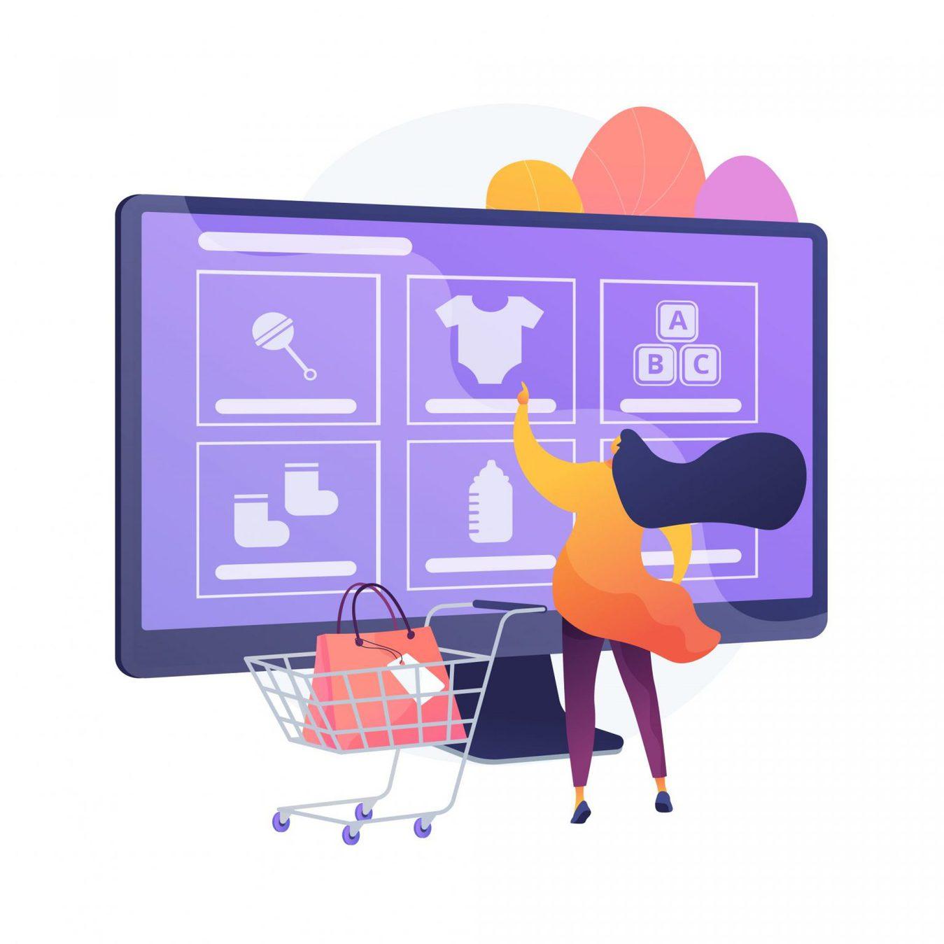 illustrate người mua sắm và máy tính với nhiều mặt hàng trên màn hình