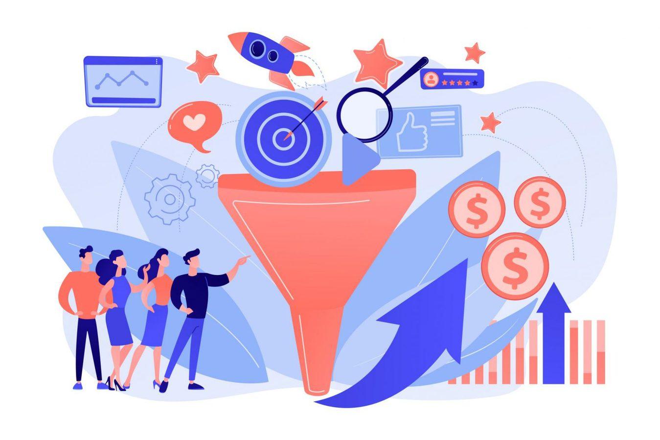 Un'illustrazione di una funnel marketing in un contesto di marketing digitale