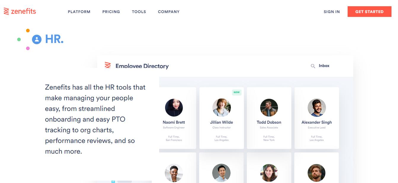 zenefits website homepage