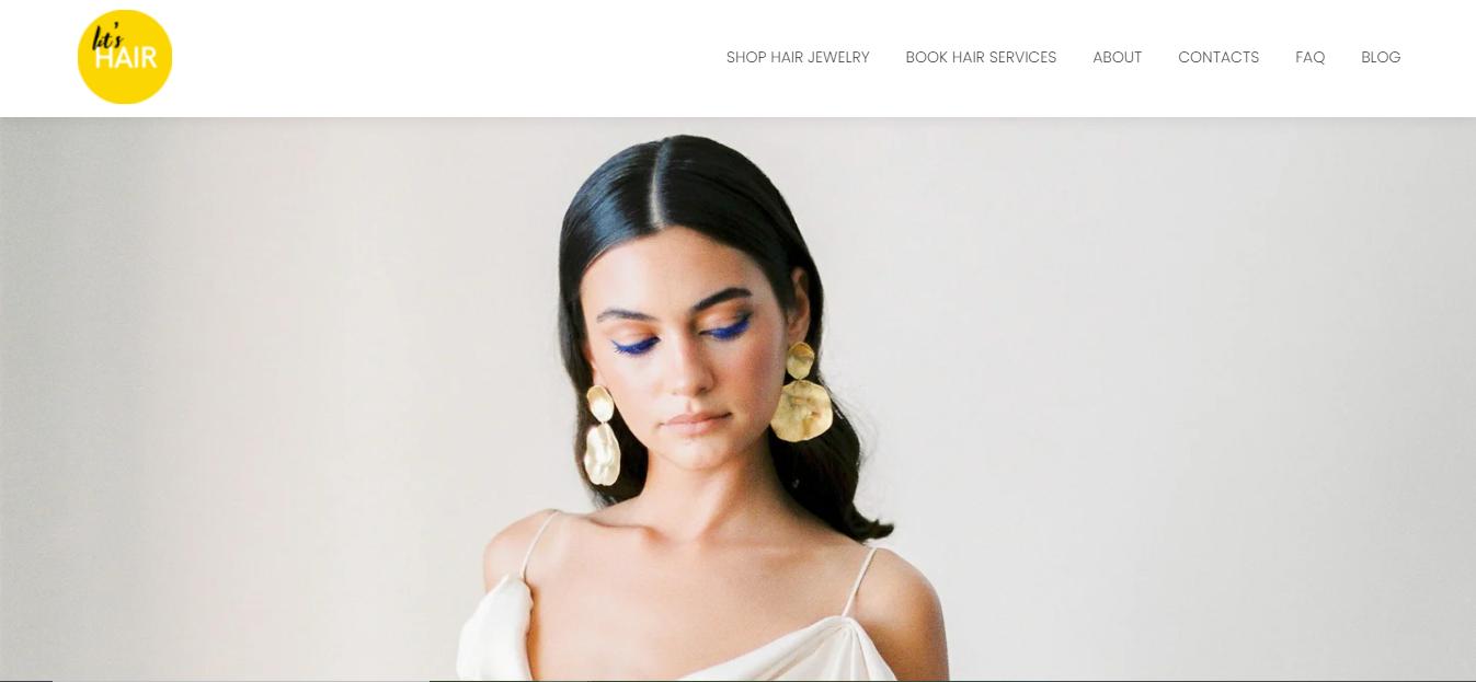 let's hair website homepage
