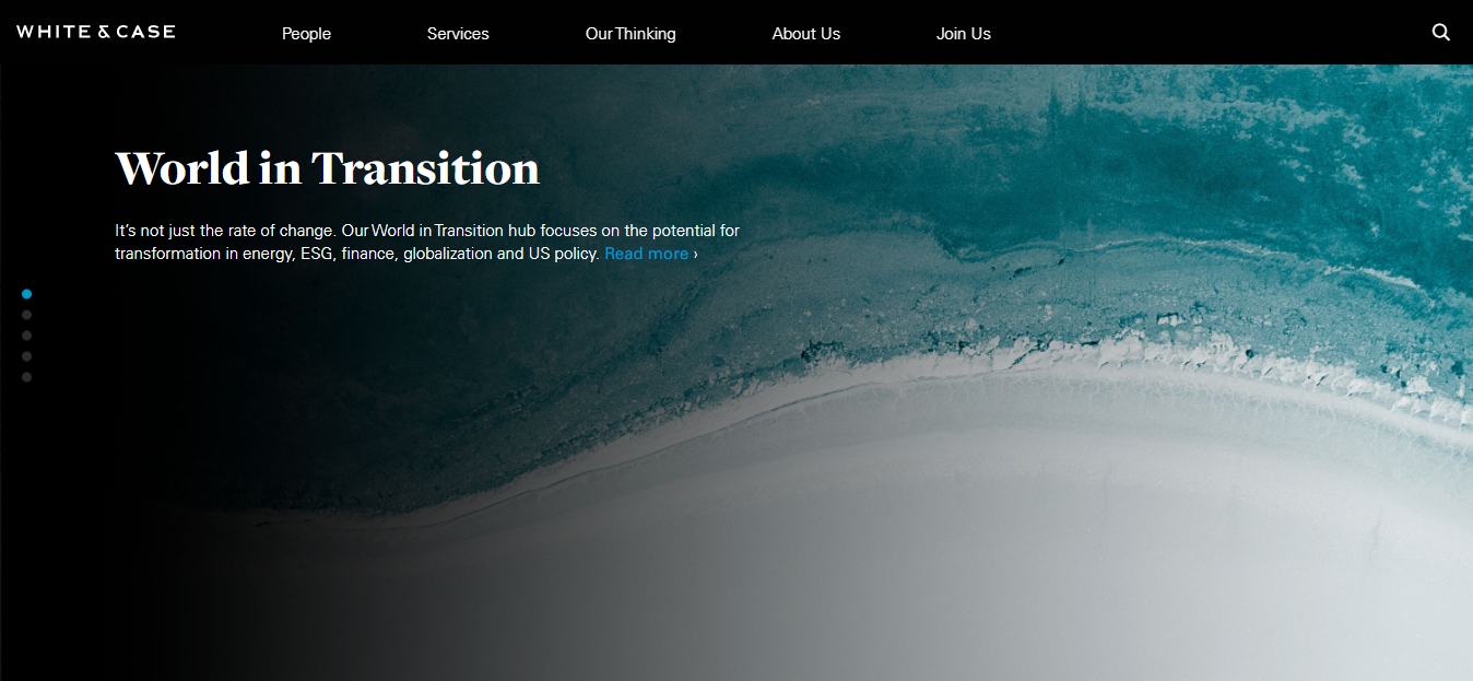 white & case website homepage