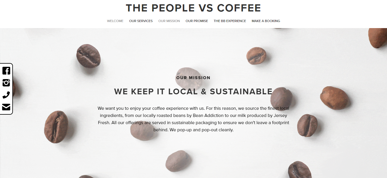 the people vs coffee website homepage showing coffee beans overlaid with black text