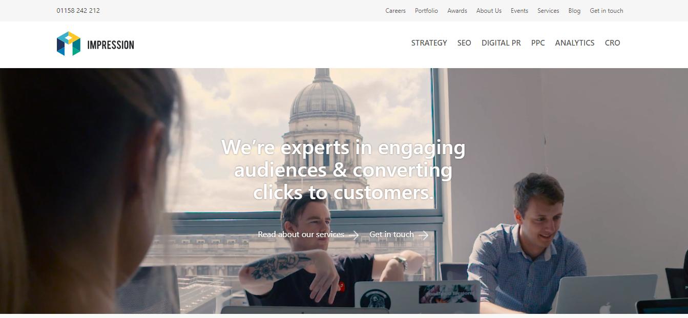 impression website homepage