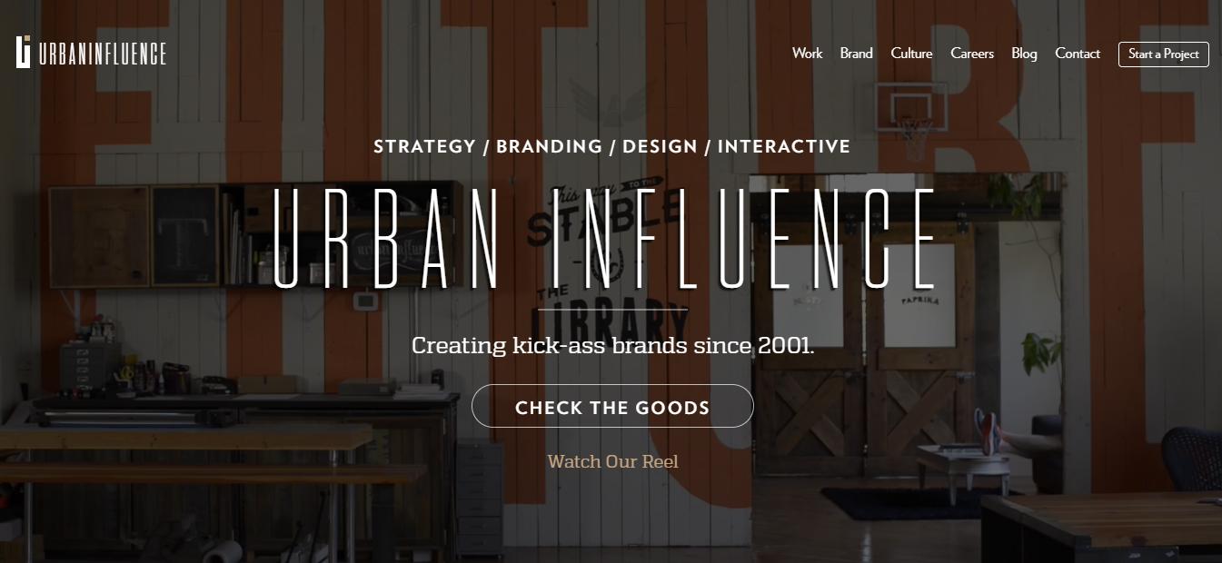 urban influence website homepage