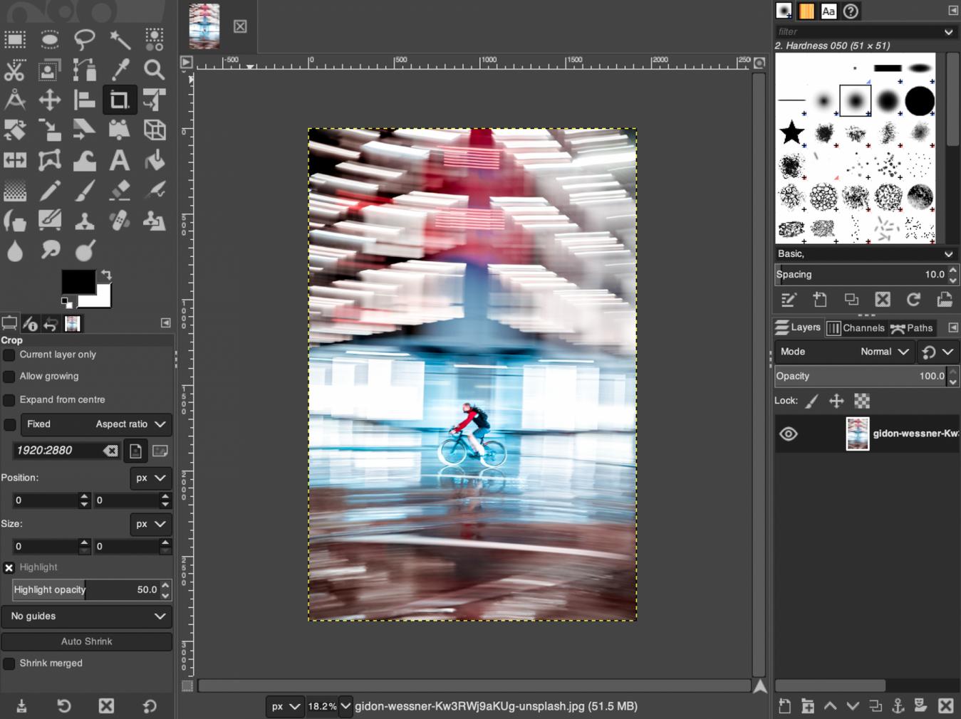 Interfaccia editor foto Gimp