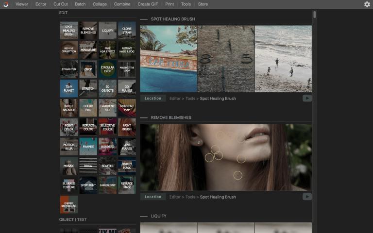 Interfaccia dell'editor di foto Photoscape