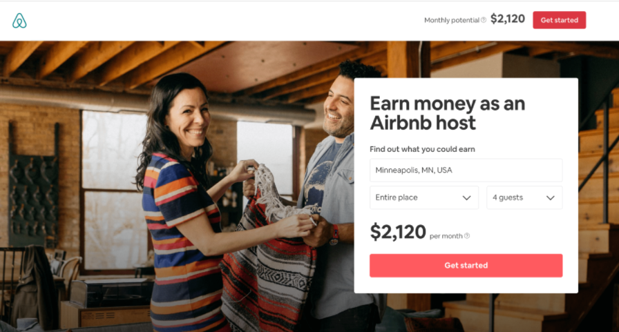 Landing page di Airbnb