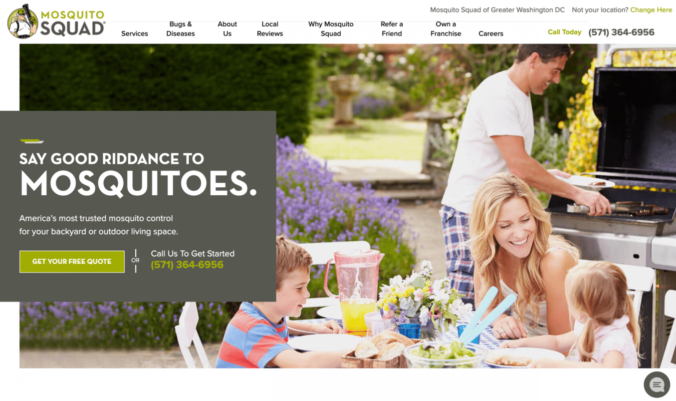 Landing page do DC Mosquito Squad