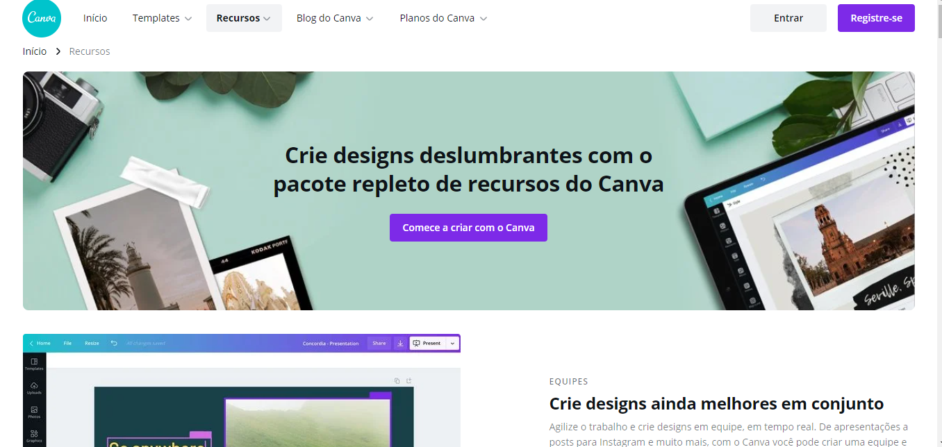 Landing page do Canva