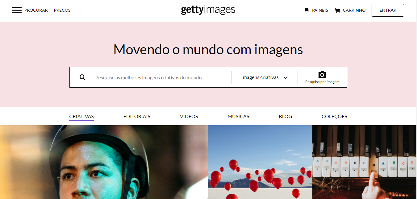 Landing page do Getty Images