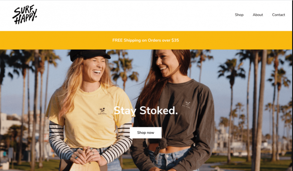 Landing page do SurfHappy