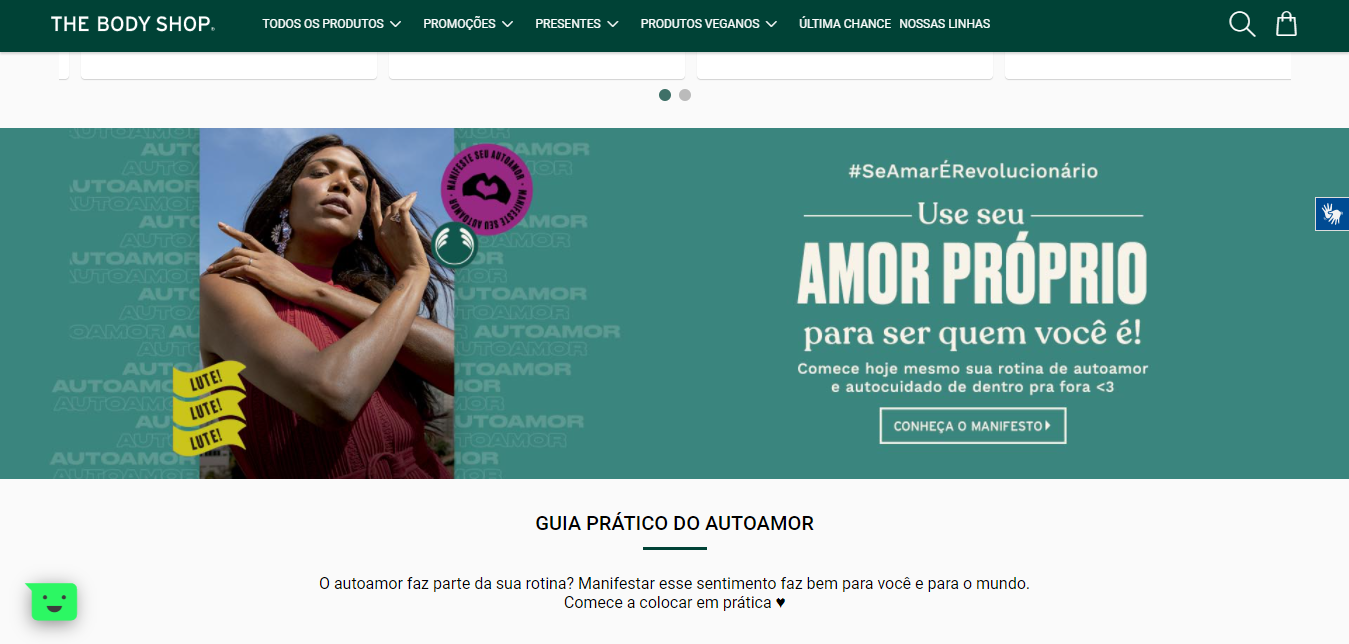 Landing page do The Body Shop