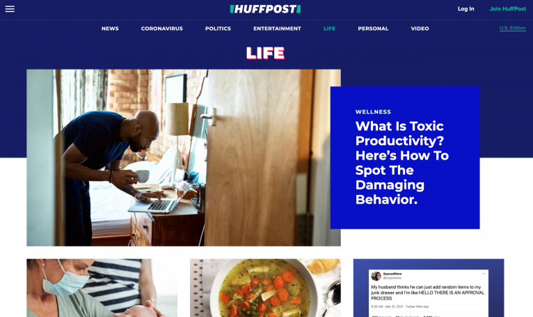 Landing page do The Huffington Post