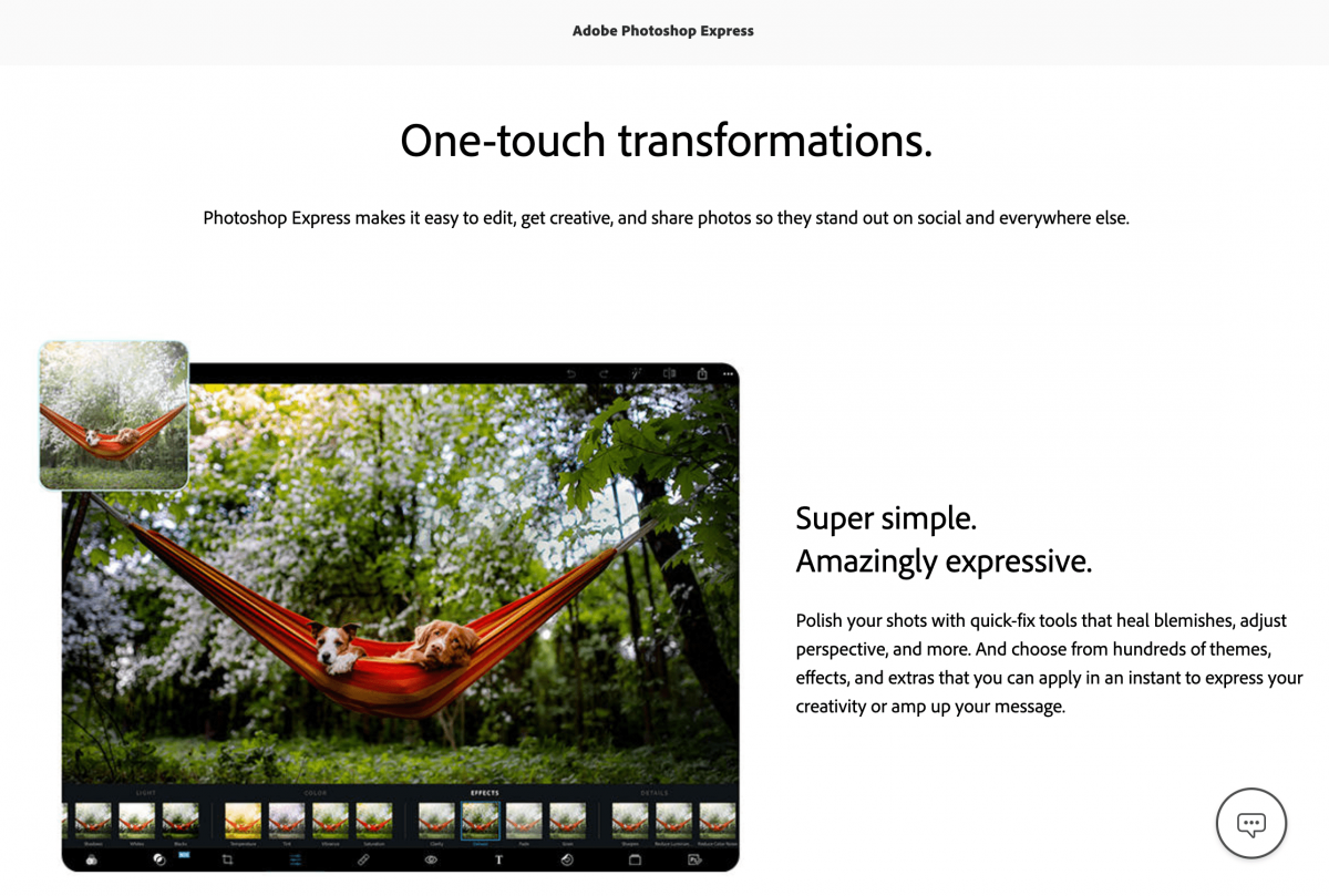 Landing page Photoshop Express