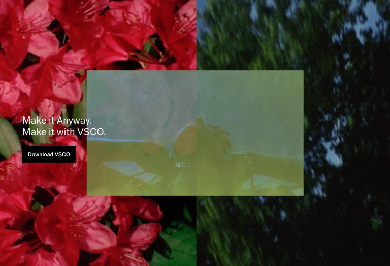 Landing page del software di fotoritocco VSCO
