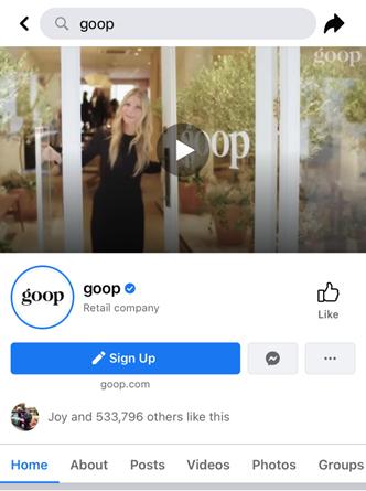 Pagina facebook di Goop