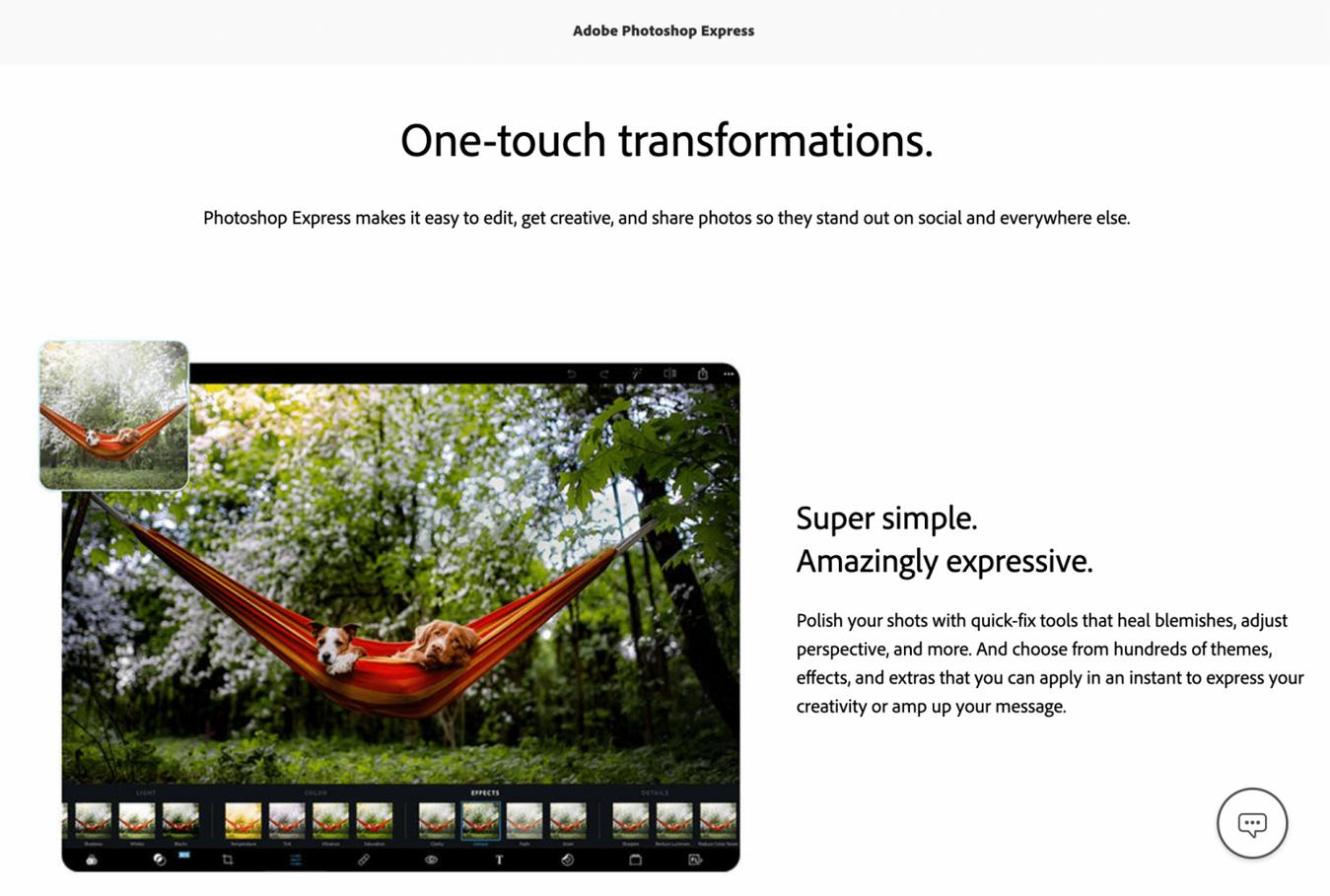 photoshop express landing page