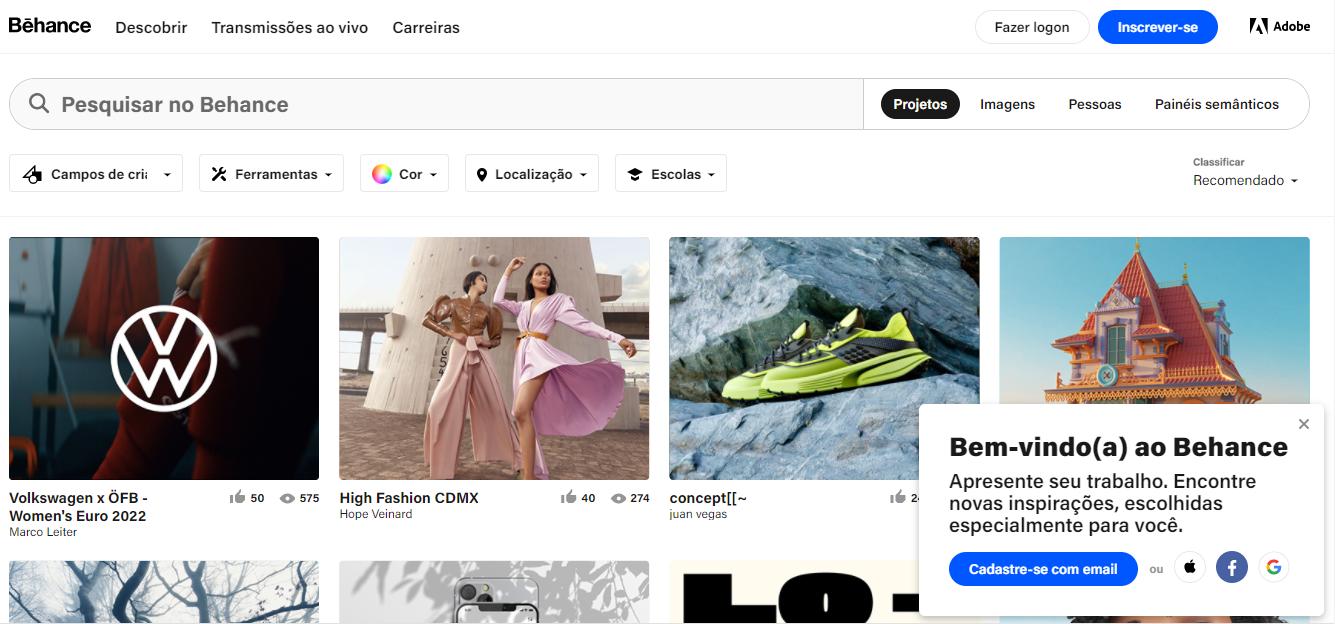 Site de freelancer Behance