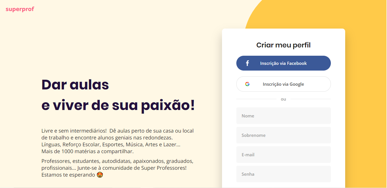 Site de freelancer Superprof