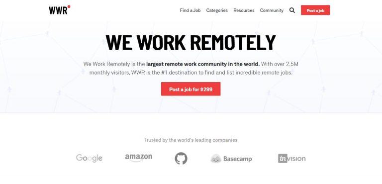 Site de freelancer We Work Remotely