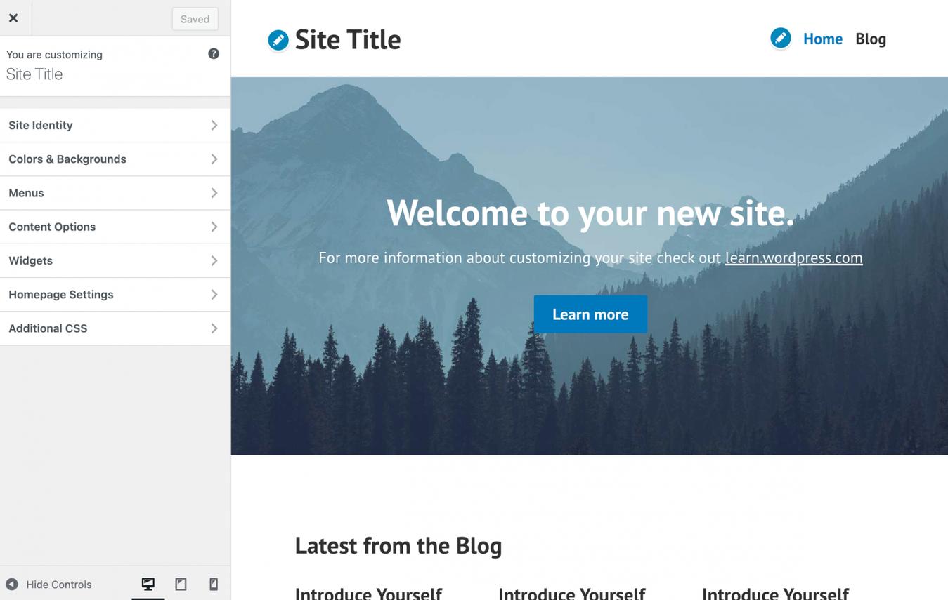 WordPress customize site view