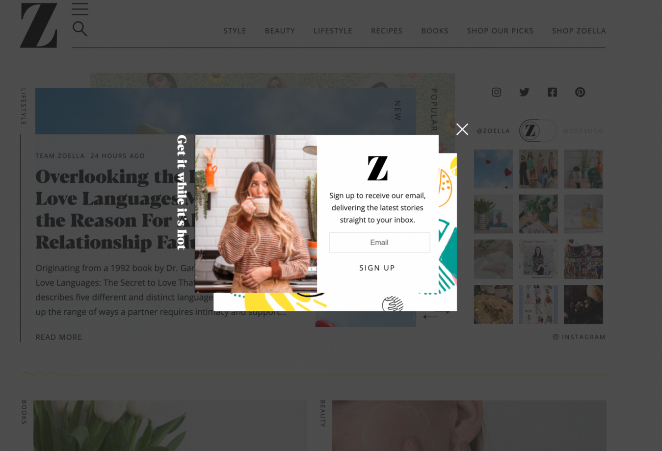Zoella nieuwsbrief pop-up voorbeeld