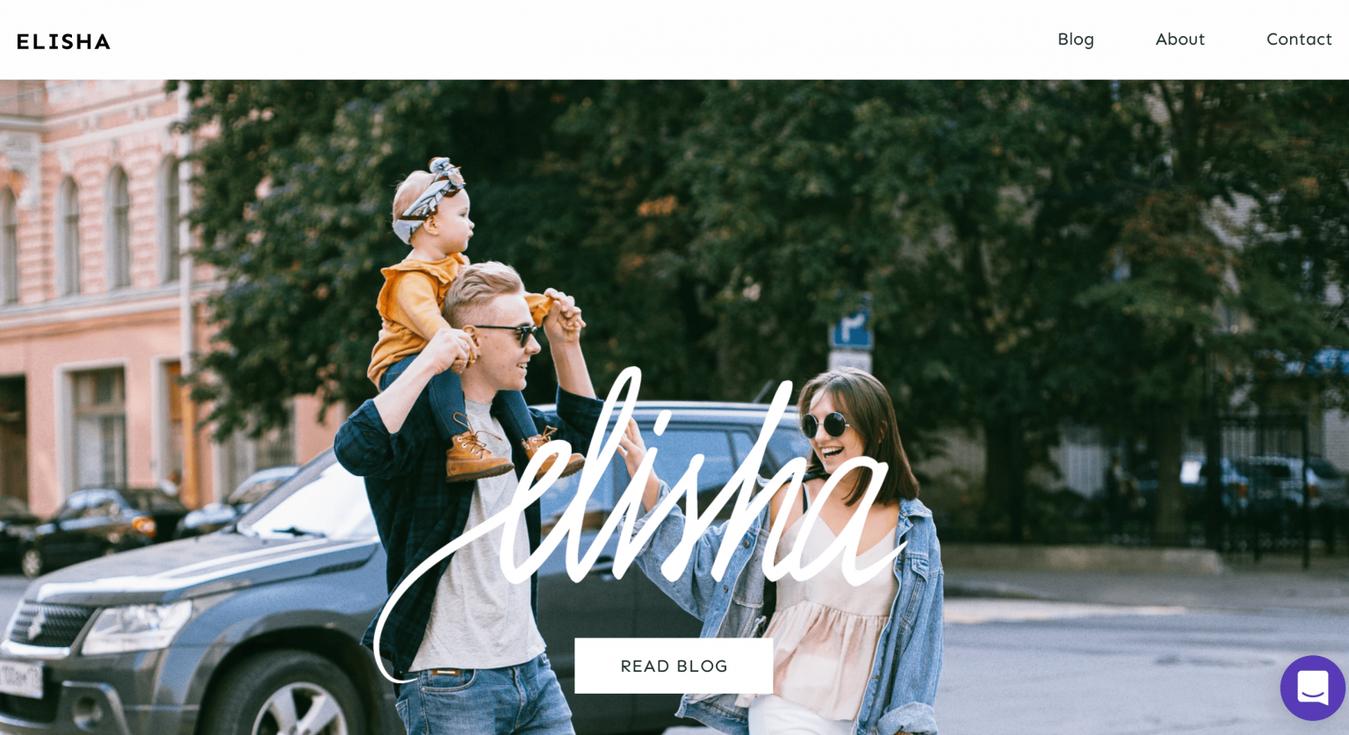 Zyro Elisha blog template preview