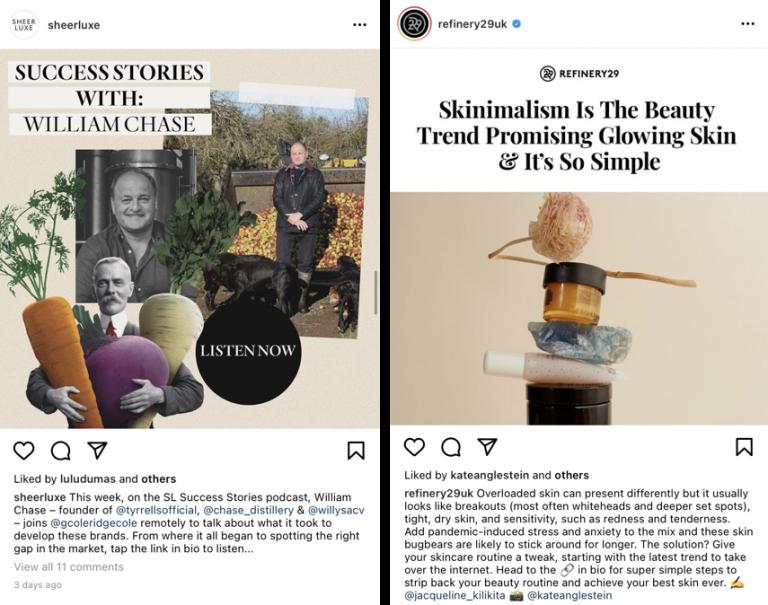 Exemplo de postagem com conteúdo reutilizado no Instagram