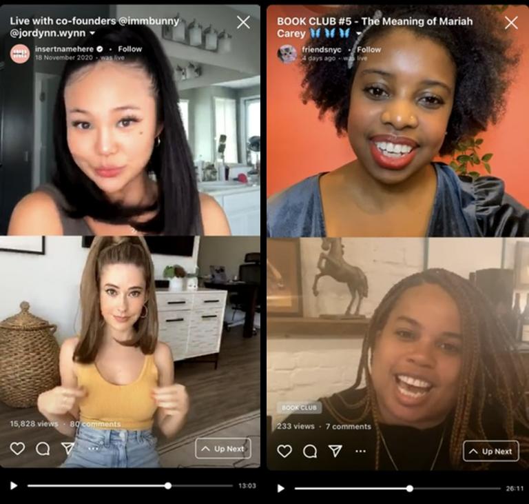 Exemplo de live no Instagram