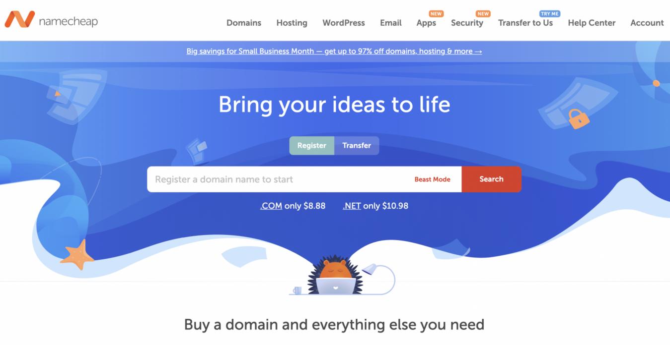 Strona internetowa namecheap