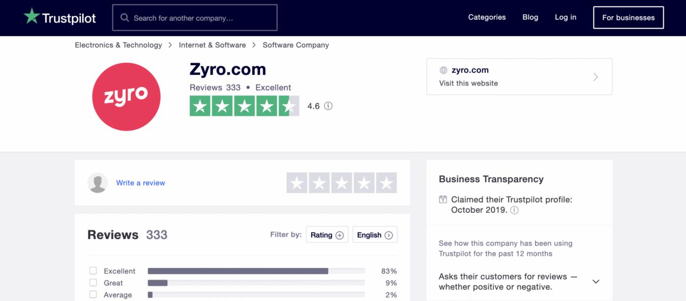 Zrzut ekranu strony z recenzjami Trustpilot pokazujący recenzję kreatora stron Zyro