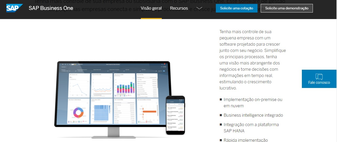 Informações sobre aplicativo de contabilidade SAP Business One