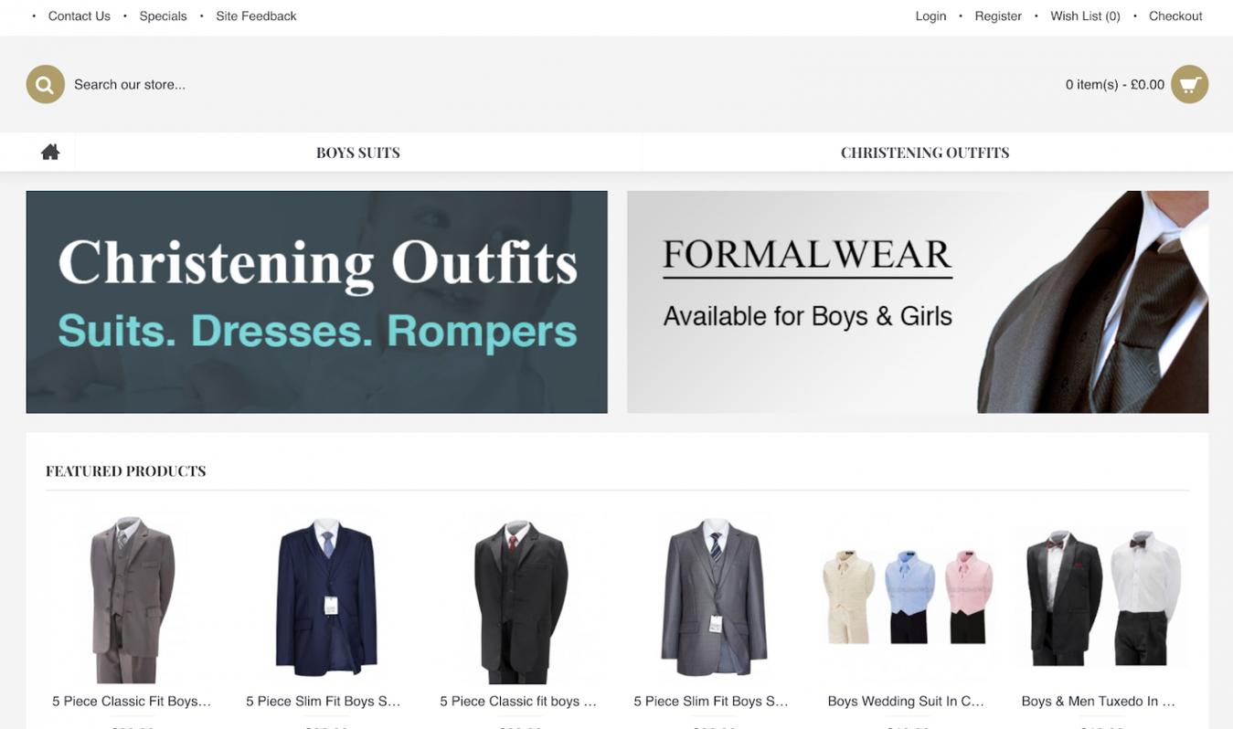 Landing page do site Children's Wear