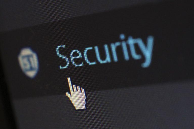 "Cursor do mouse sobre a palavra ""security"""