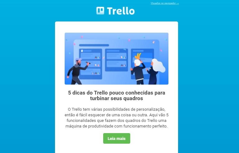 Exemplo de newsletter do Trello