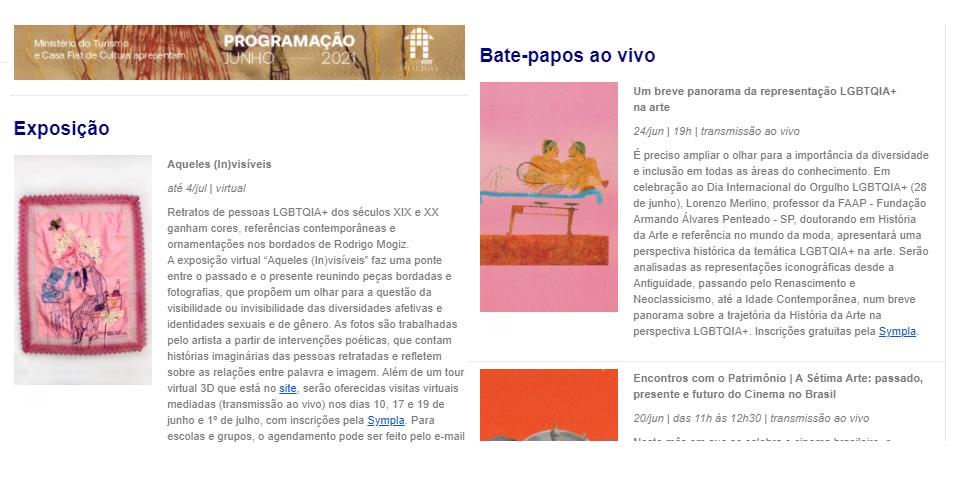 Exemplo de newsletter do museu Casa Fiat de Cultura